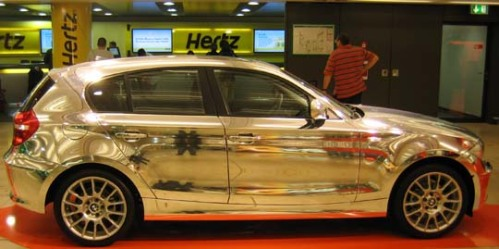 An incredibly silver BMW in the Frankfurt, Germany, airport. Copyright Richard Gilbert.